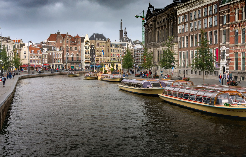 Photo wallpaper river, Amsterdam, Netherlands, Holland