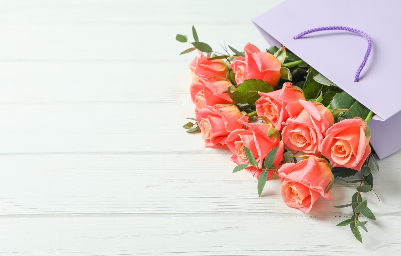 Photo wallpaper flowers, box, roses, bouquet, Atlascompany