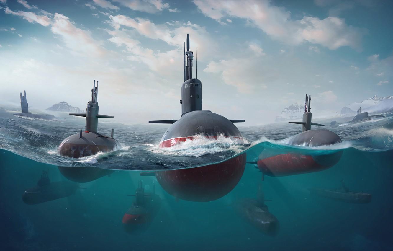 Photo wallpaper The ocean, Sea, The game, Submarine, Boats, Art, Game, Submarine, Submarines, Game Art, Submarine, Environments, …