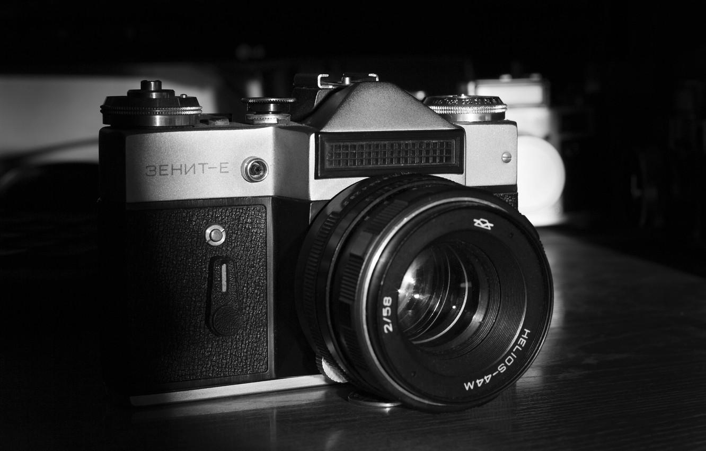 Photo wallpaper Zenit, film, the camera, cameras, black and white, Helios 44m, ZENIT E, photographer Alexander butchers, …