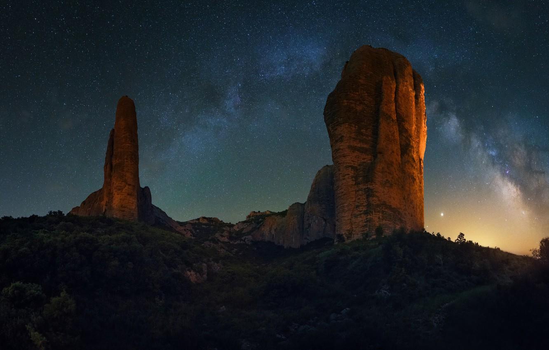 Photo wallpaper stars, rocks, The Milky Way, rocks, stars, milky way, David Martin Castan