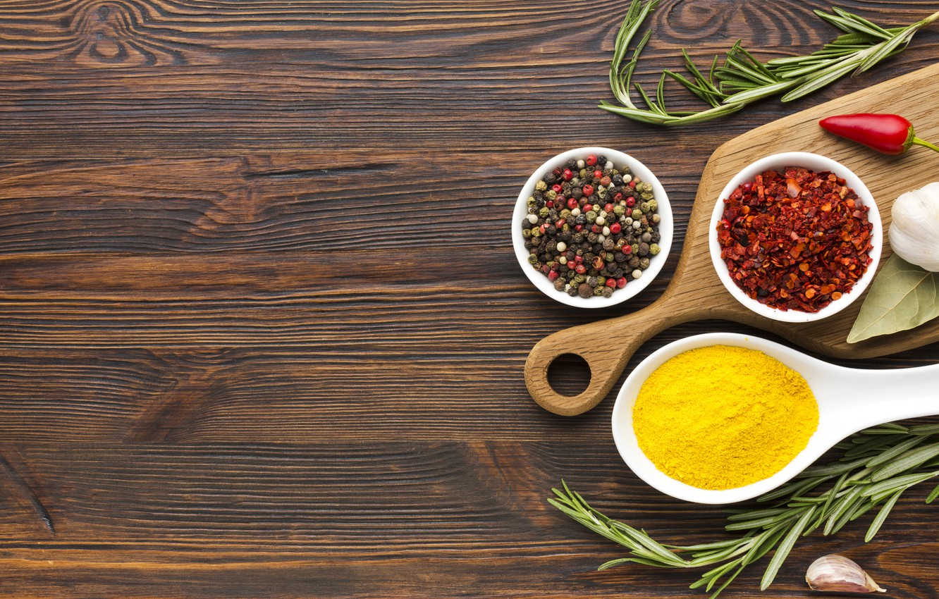 Wallpaper Pepper Garlic Wooden Background Chile Rosemary Spices Images For Desktop Section еда Download