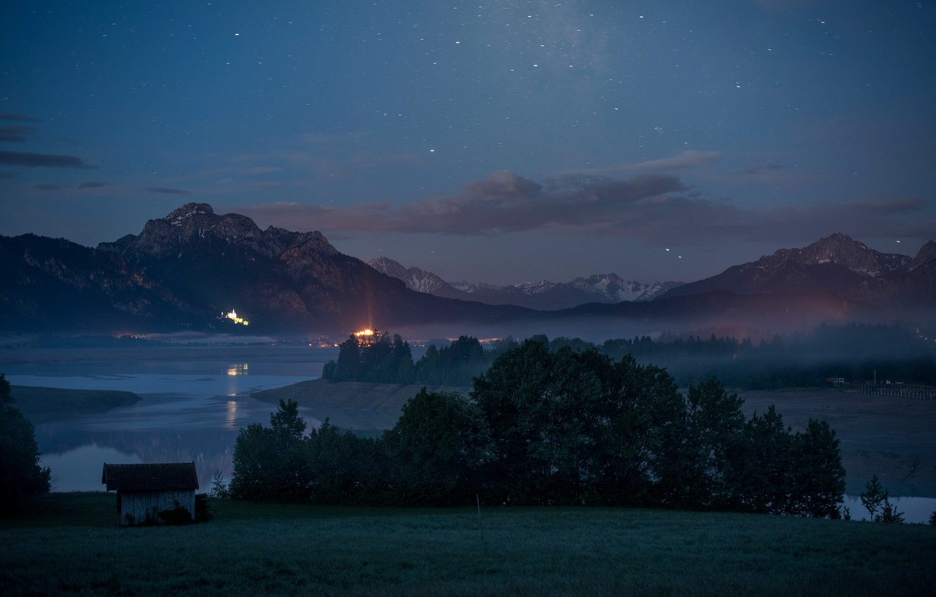 Photo wallpaper forest, mountains, night, lights, shore, tops, Alps, house, pond