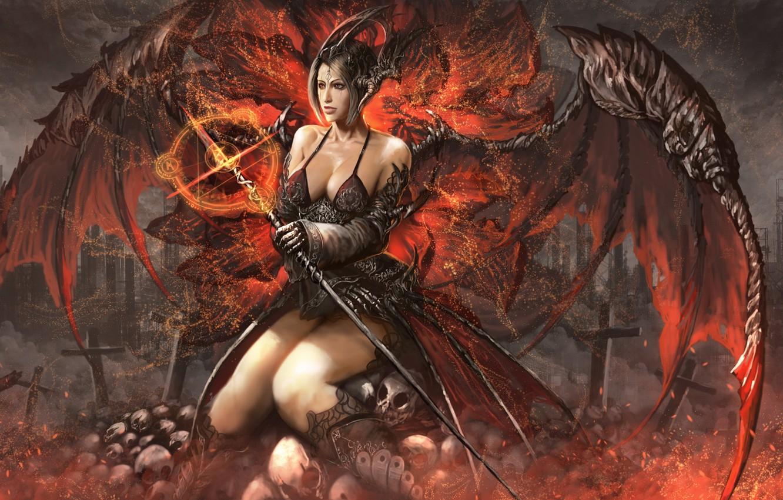 Photo wallpaper girl, the demon, demoness