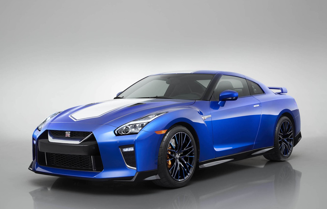 Photo wallpaper Blue, The front, Japanese, 50th Anniversary Edition, White stripes, 2020 Nissan GT-R