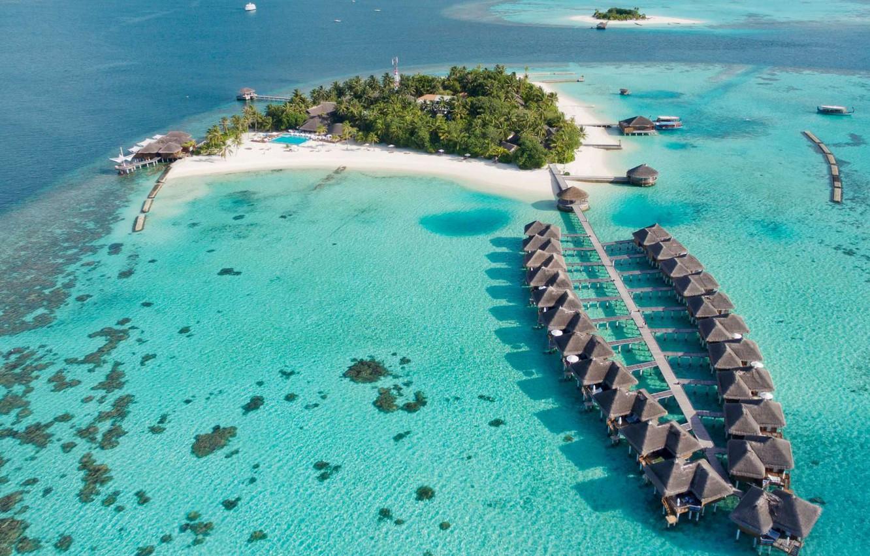 Photo wallpaper Islands, the ocean, resort, Laguna, Maldives, A Kuoni Hotel, Maafushivaru Maldives