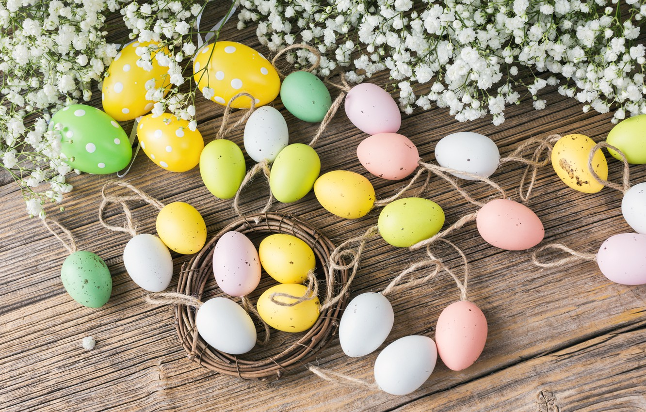 Photo wallpaper holiday, Easter, Eggs, Decoration, composition