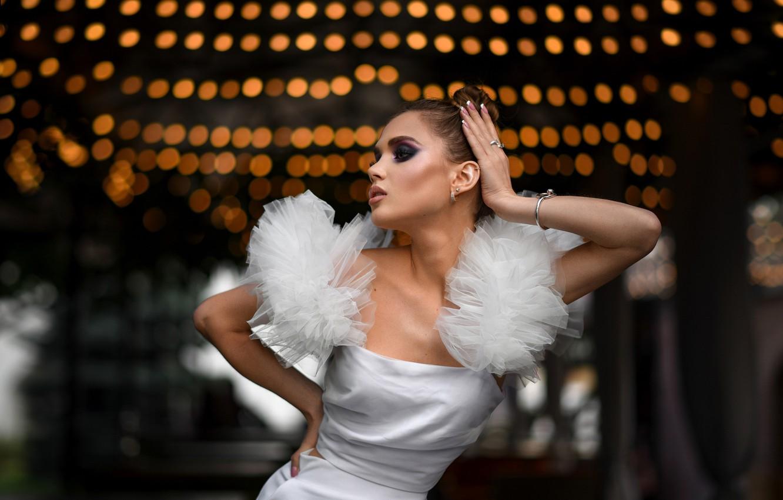 Photo wallpaper girl, pose, style, model, hands, makeup, dress, Alexander Dubovsky, Dmitry Medved