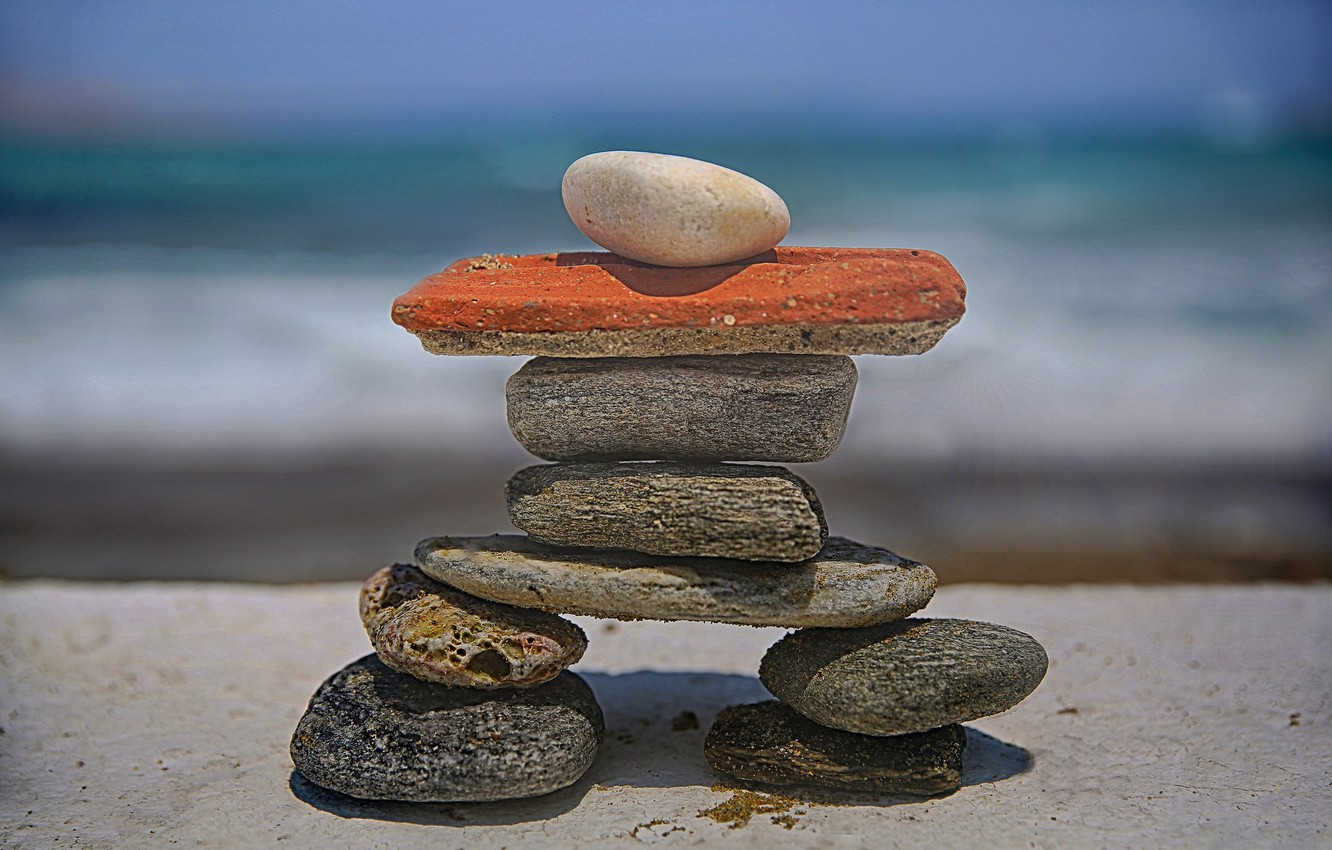Photo wallpaper beach, stones, figure