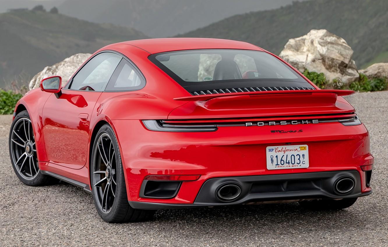 Photo wallpaper red, Porsche, Porsche, Porsche 911, Porsche 911 Turbo S, 2020