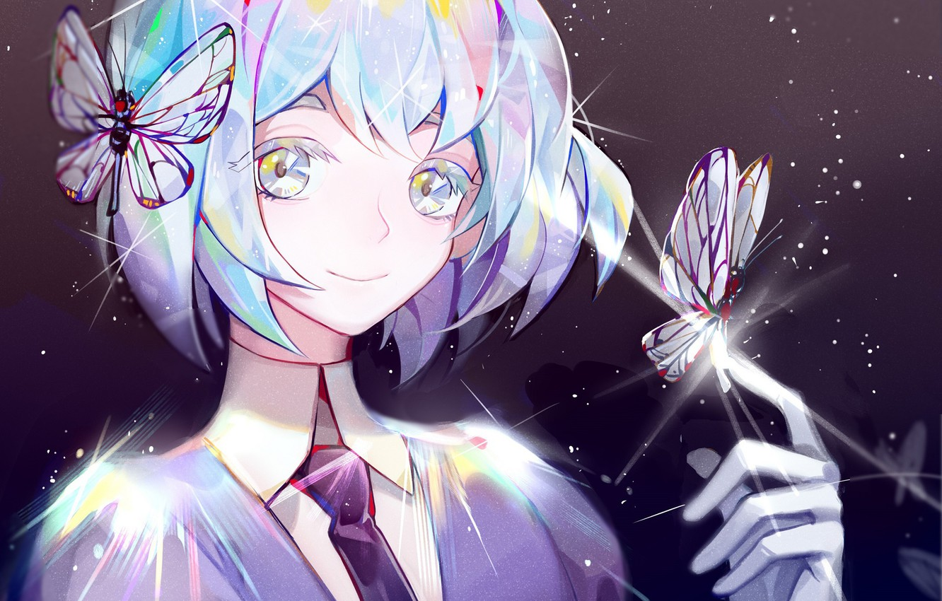 Photo wallpaper girl, smile, butterfly, House no Kuni, Country Gems