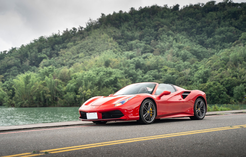 Photo wallpaper road, forest, red, sports car, Ferrari 488 Spider