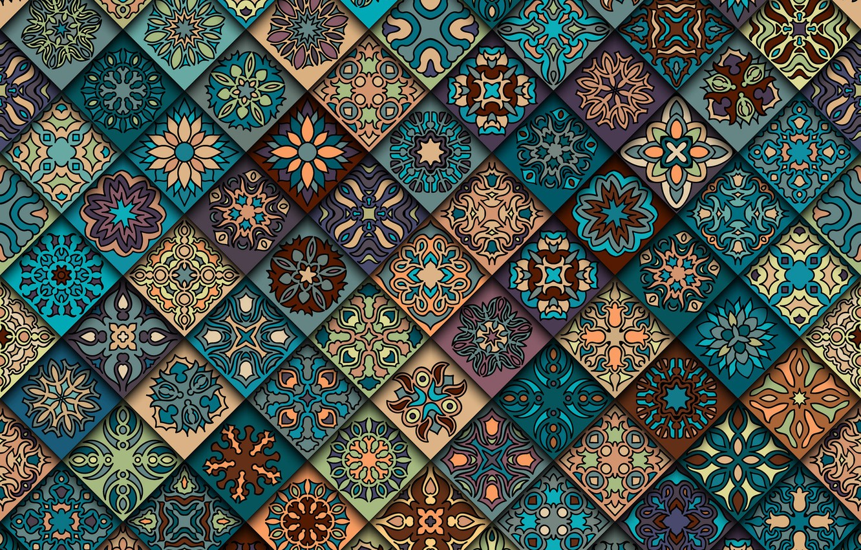 Photo wallpaper flowers, background, pattern, texture, geometry, ornament, geometric