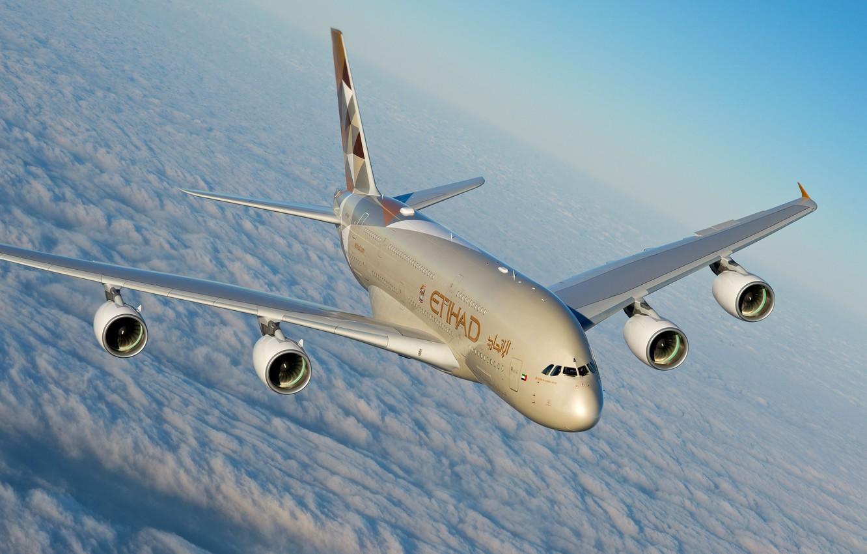 Photo wallpaper Clouds, A380, Airbus, Etihad Airways, Airbus A380, A passenger plane, Airbus A380-800