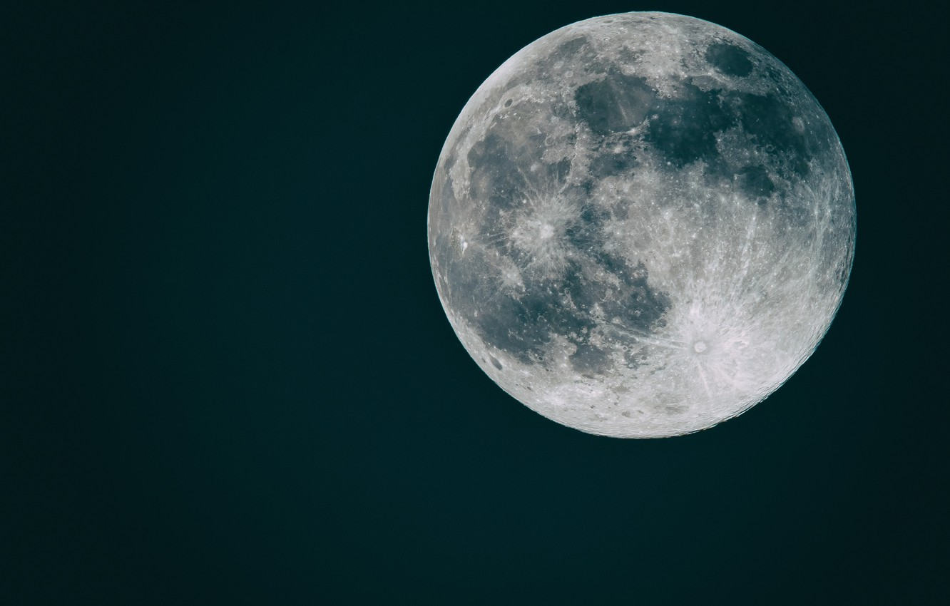 Photo wallpaper space, background, flat moon