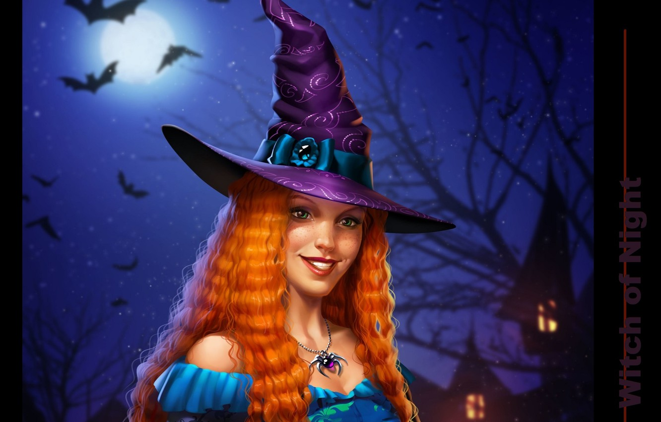Photo wallpaper night, spider, witch, bats, the full moon, witch, witch hat, red-haired beast, hell of a …