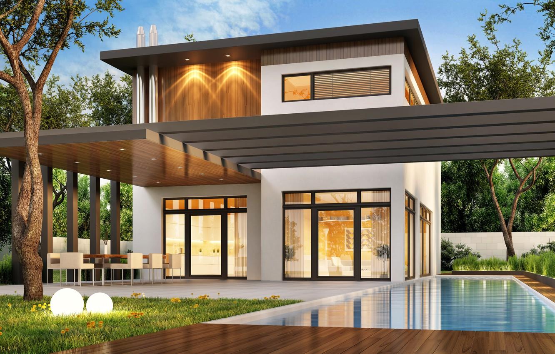 Photo wallpaper trees, design, house, lawn, Villa, pool, modern, houses, villa, luxury