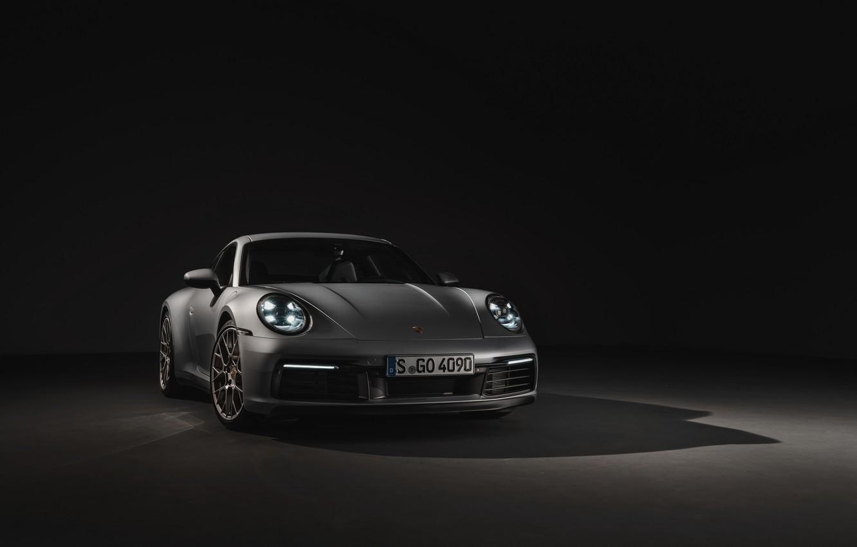 Photo wallpaper background, coupe, 911, Porsche, dark, Carrera 4S, 992, 2019