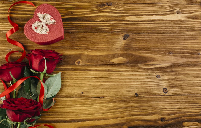 Photo wallpaper love, heart, roses, love, heart, romantic, valentine, roses, gift box