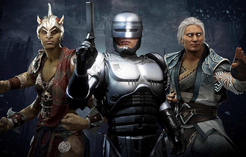 Photo wallpaper Robocop, Aftermath, Alex Murphy, Mortal Kombat 11, god of wind, Sheeva, queen of shokan, Fujin