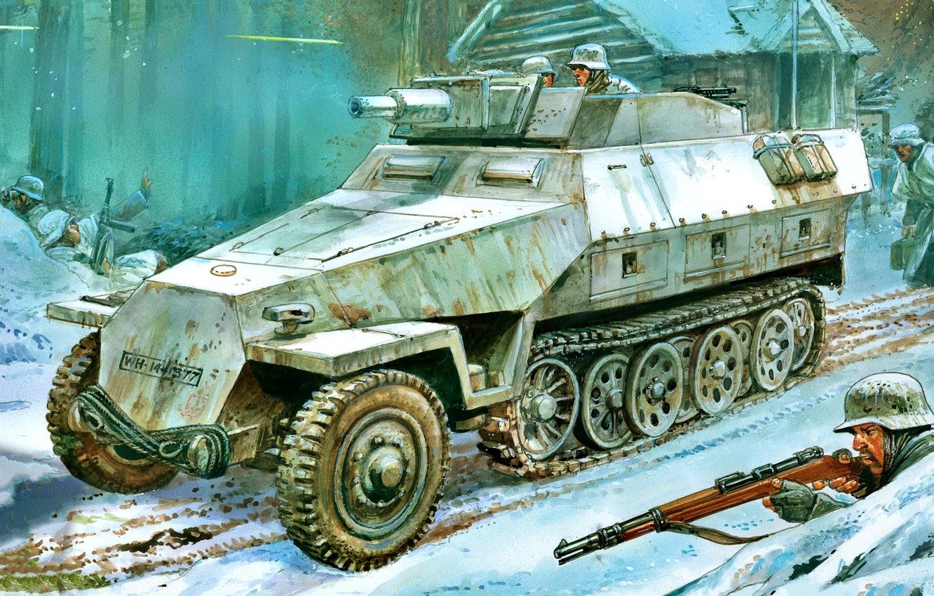 Photo wallpaper Winter, Snow, The Wehrmacht, APC, Sd.Car.251, WWII, Soldiers, Sd.Car.251/9 Ausf.D Butts