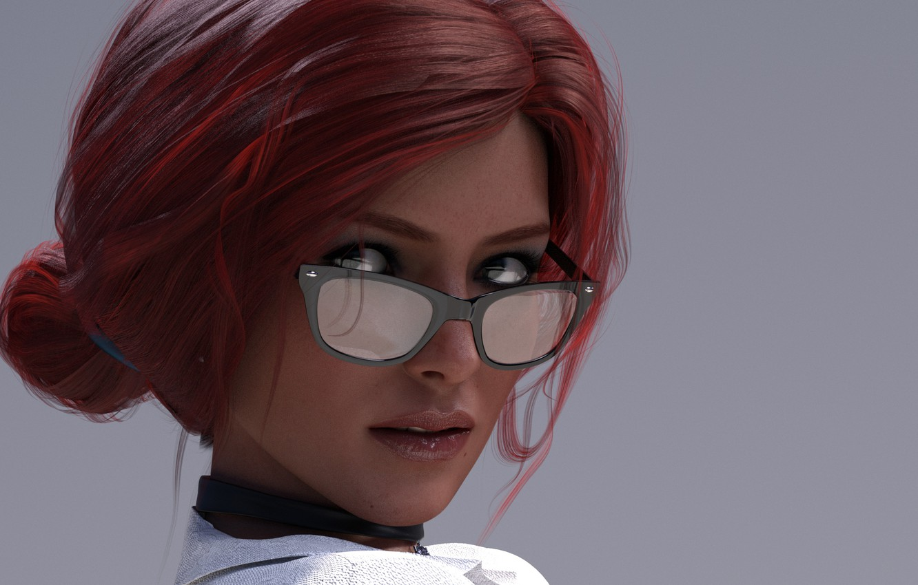 Photo wallpaper look, girl, face, glasses, the enchantress, triss merigold, The Witcher 3, Wild Hunt