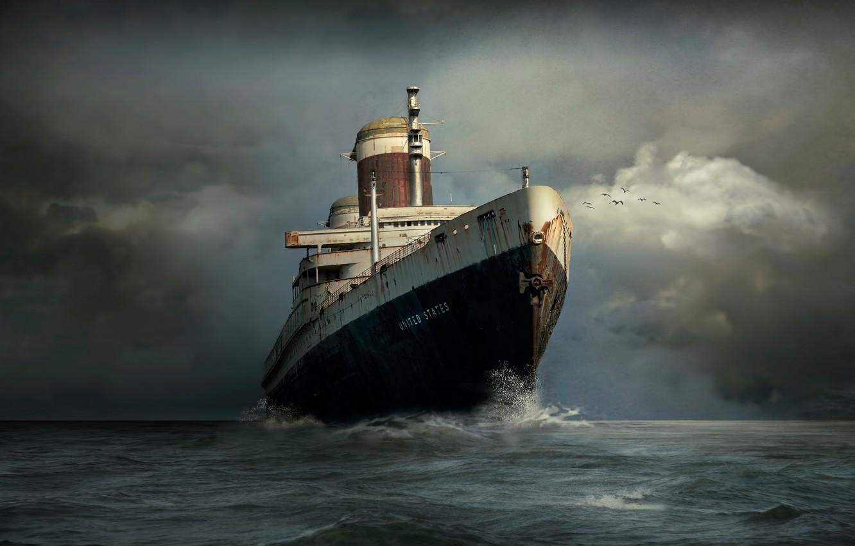 Photo wallpaper the ocean, ship, liner