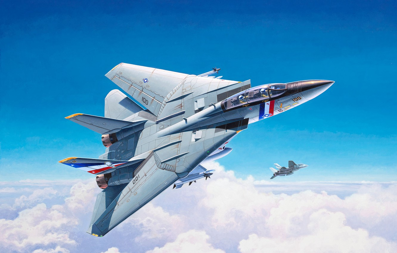 Photo wallpaper Fighter, F-14, Grumman F-14, Grumman F-14 Tomcat, US NAVY, Fighter-interceptor, VF-2 Bounty Hunters, Grumman F-14D …