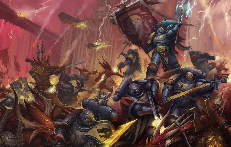 Photo wallpaper Space Wolves, chaos, space marines, demons, Warhammer 40 000, Khorne Berserker