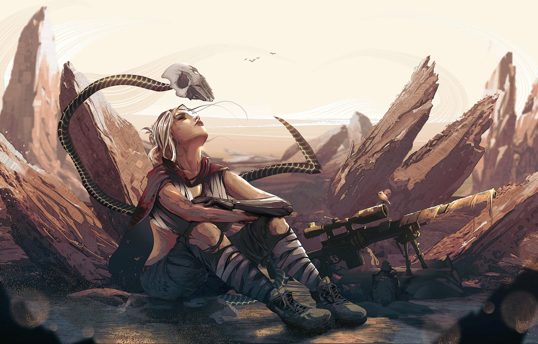 Wallpaper Girl Sake Fantasy Soldier Desert Digital Art
