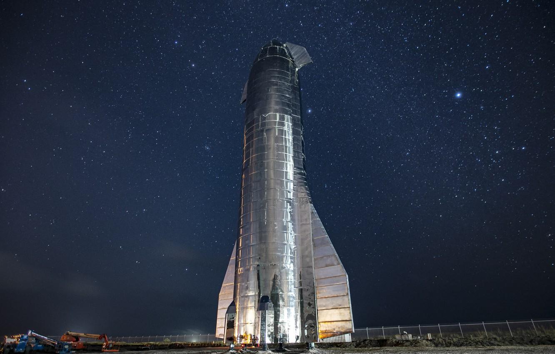 Photo wallpaper Night, Stars, Rocket, Spaceship, SpaceX, Starship Mk1