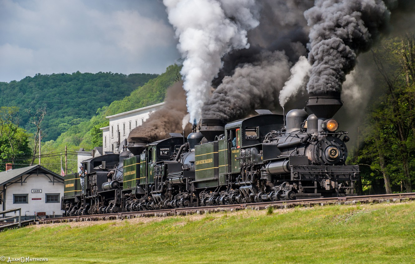 Photo wallpaper Trees, Smoke, The engine, Rails, Couples, The engine system Neck
