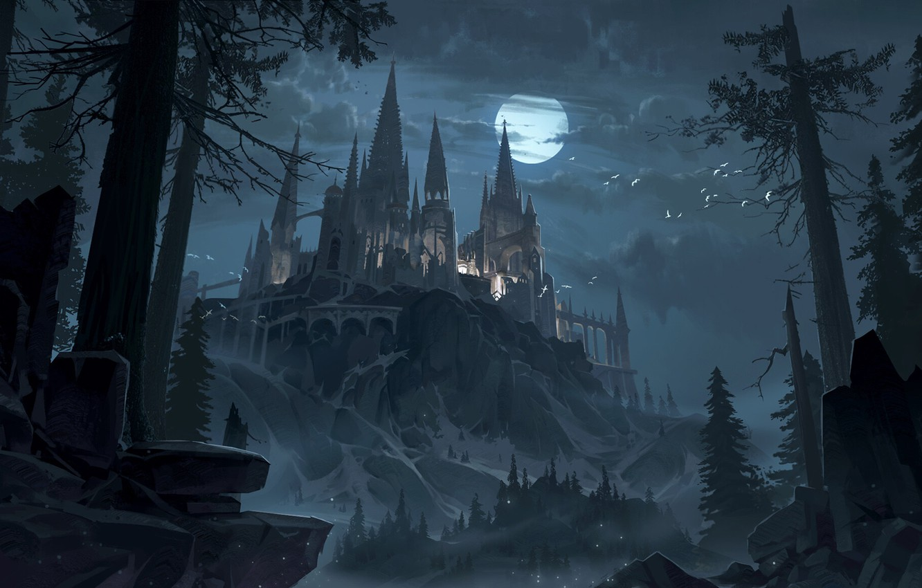 Photo wallpaper forest, the sky, trees, night, castle, the moon, fantasy, art