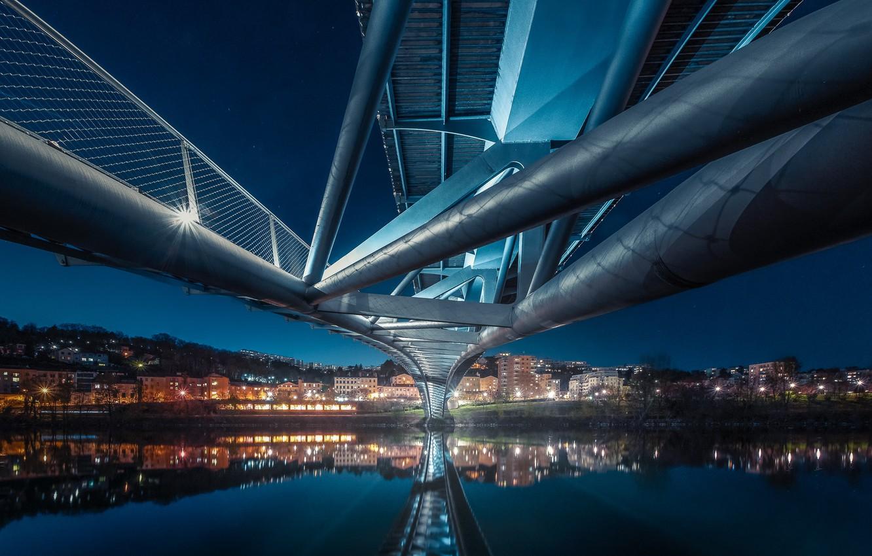 Photo wallpaper lights, France, the evening, Lyon