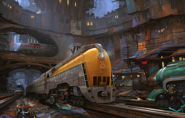 Photo wallpaper The city, Locomotive, Train, Iron, Trains, Railroad, City, Rails, Art, Art, Fiction, Train, Compositions, Railway, …