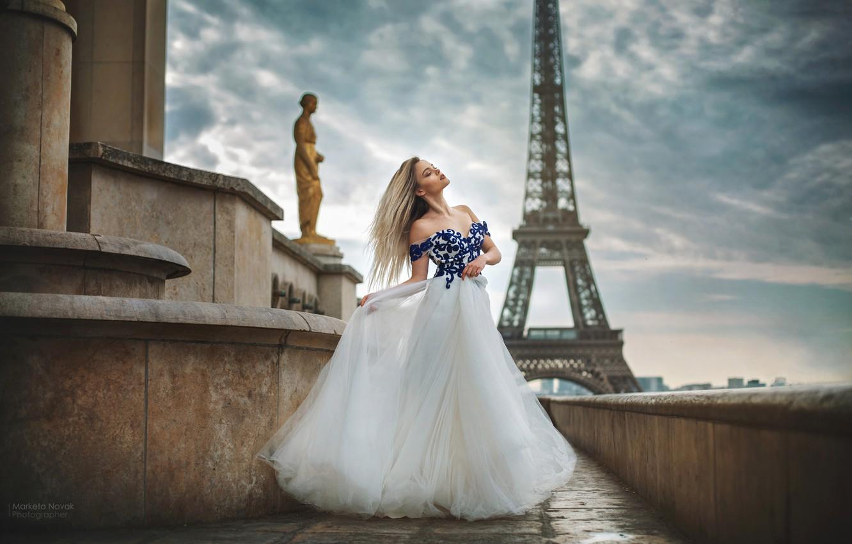 Photo wallpaper girl, pose, photo, Paris, dress, beautiful, Marketa Novak, Olga Konycheva
