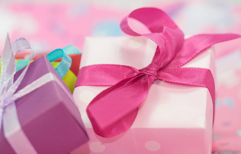 Photo wallpaper pink, holiday, box, gift, tape, gifts, bows, bow, box, bokeh, bows