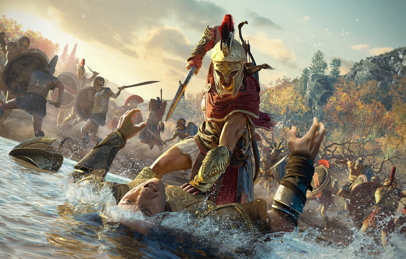Wallpaper Soldiers Kassandra Assassins Creed Assassin Guards