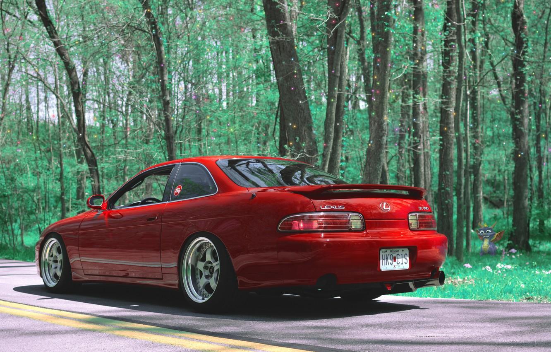 Photo wallpaper Red, Stance, Lexus SC300