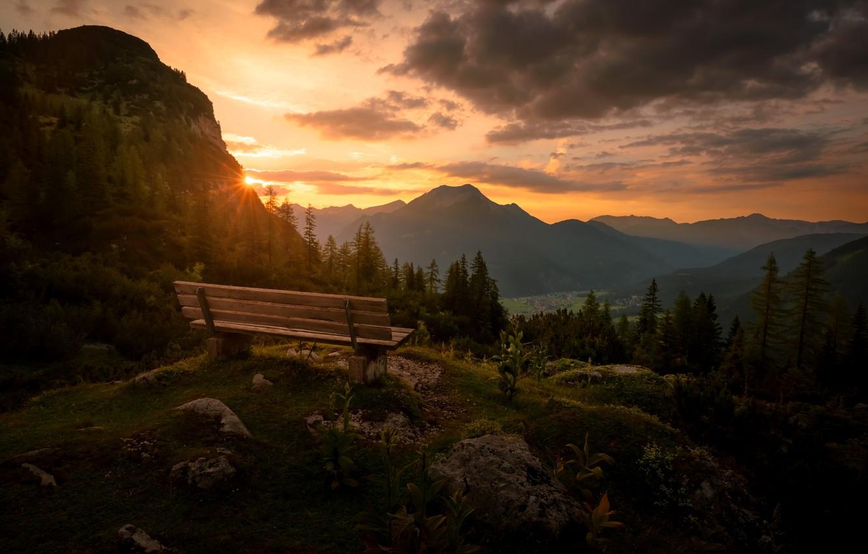 Photo wallpaper sunset, mountains, bench, Austria, Tyrol, Reutte District