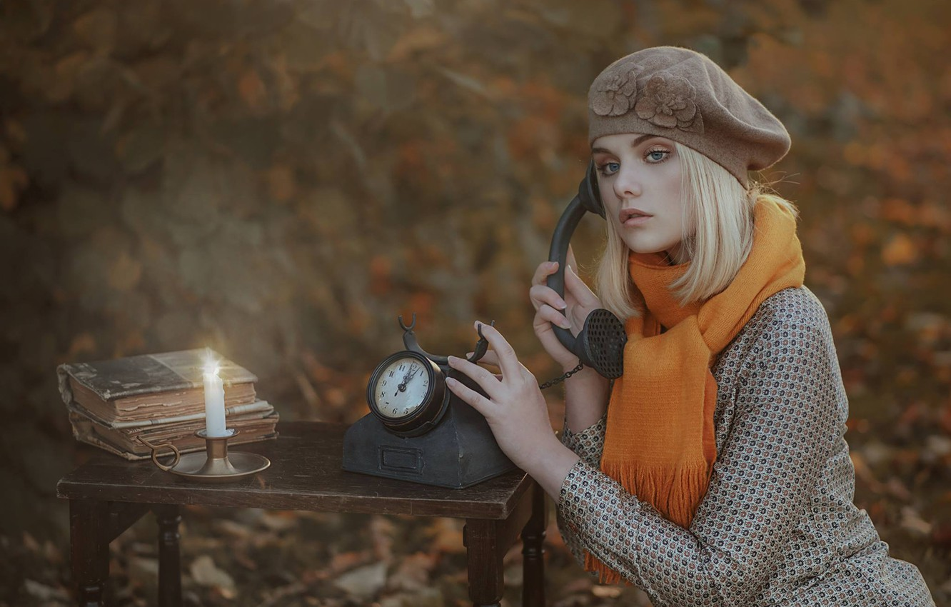 Photo wallpaper autumn, girl, mood, watch, books, candle, blur, scarf, phone, takes