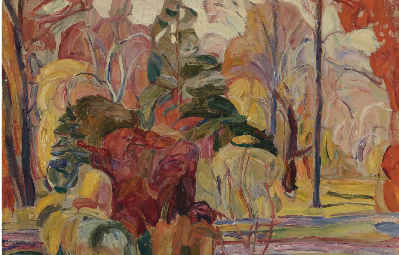 Wallpaper Abraham Manievich Fall Scene Oil On Canvas Laid