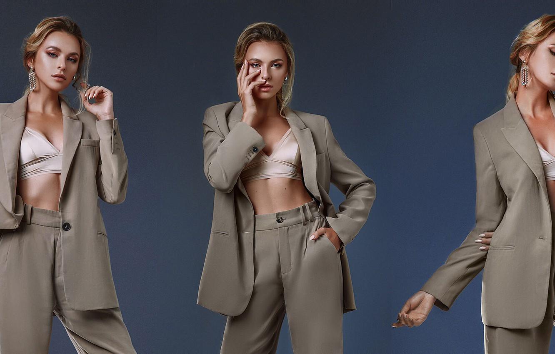 Photo wallpaper girl, pose, style, background, collage, costume, jacket, pants, Eugene Angels, Angelov