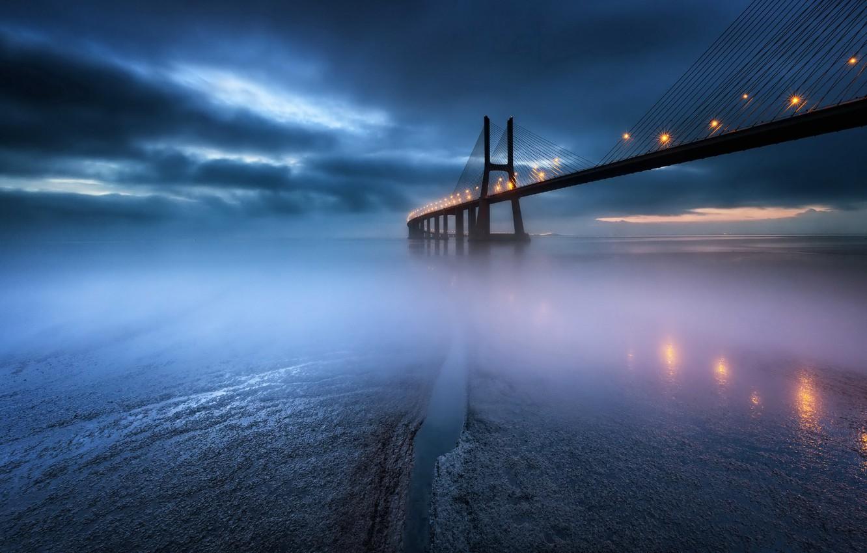 Photo wallpaper night, bridge, Vasco da Gama bridge
