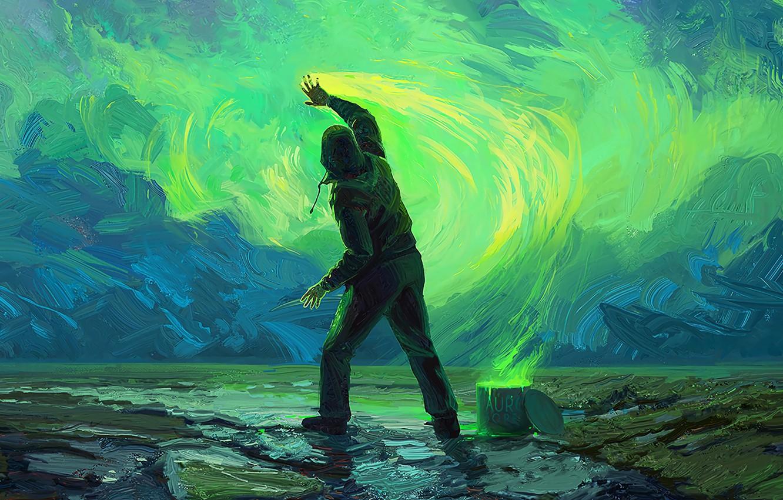 Photo wallpaper colors, sky, art, painting, paint, digital art, artwork, concept art, Man, illustration, hood