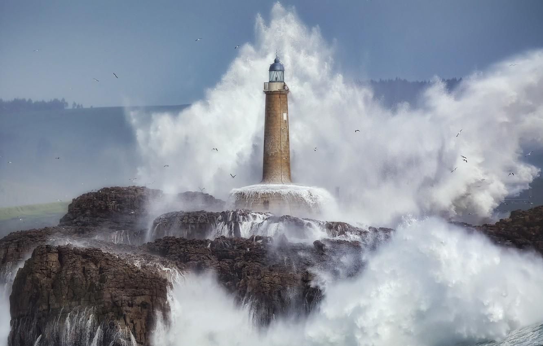 Photo wallpaper sea, wave, rocks, lighthouse, seagulls