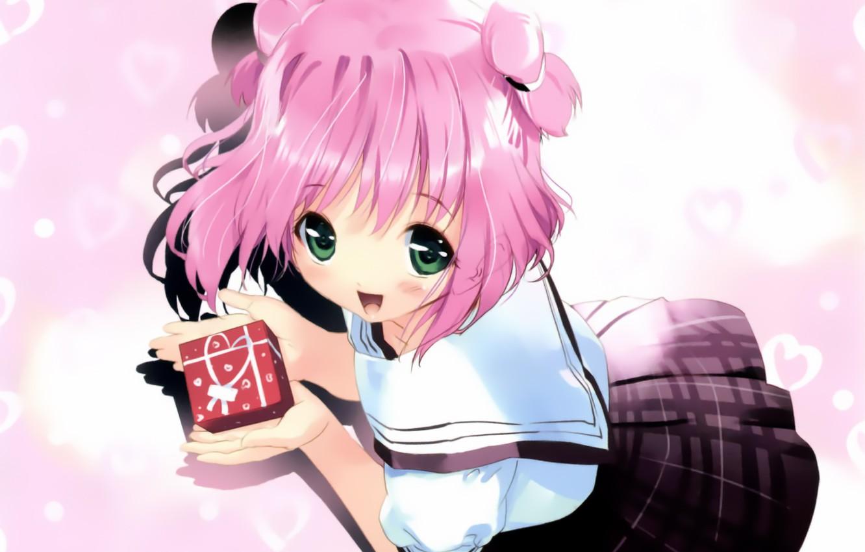 Photo wallpaper joy, hearts, schoolgirl, art, big eyes, pink eye, sailor, ueda ryou, gift, skirt in a …