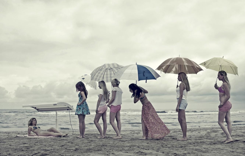 Photo wallpaper beach, girls, humor, turn