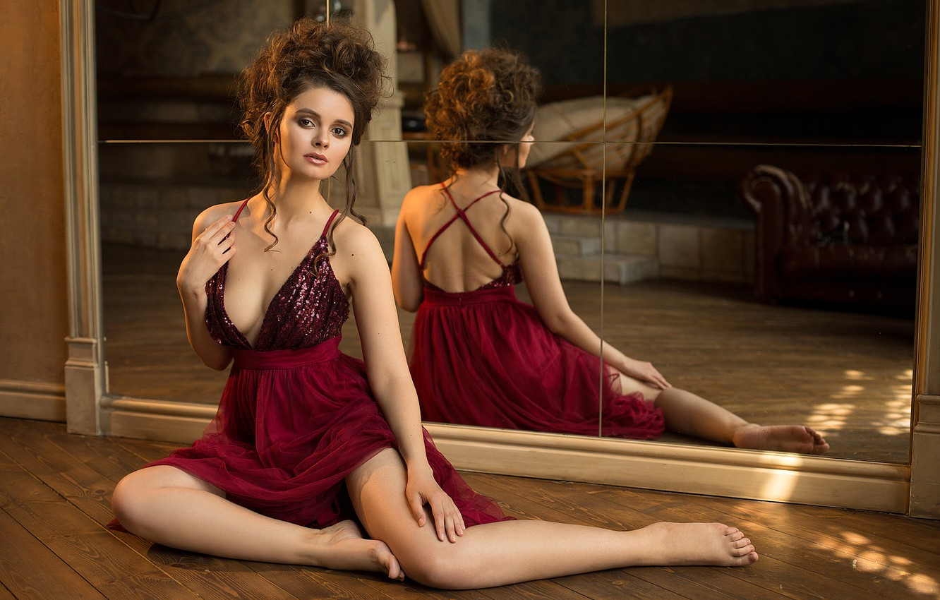 Photo wallpaper look, sexy, pose, reflection, model, portrait, makeup, figure, dress, mirror, hairstyle, brown hair, legs, beauty, …