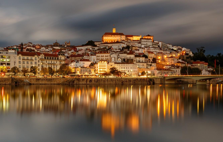 Photo wallpaper bridge, river, building, home, Portugal, Portugal, Coimbra, Coimbra, Mondego River, Река Монтегу